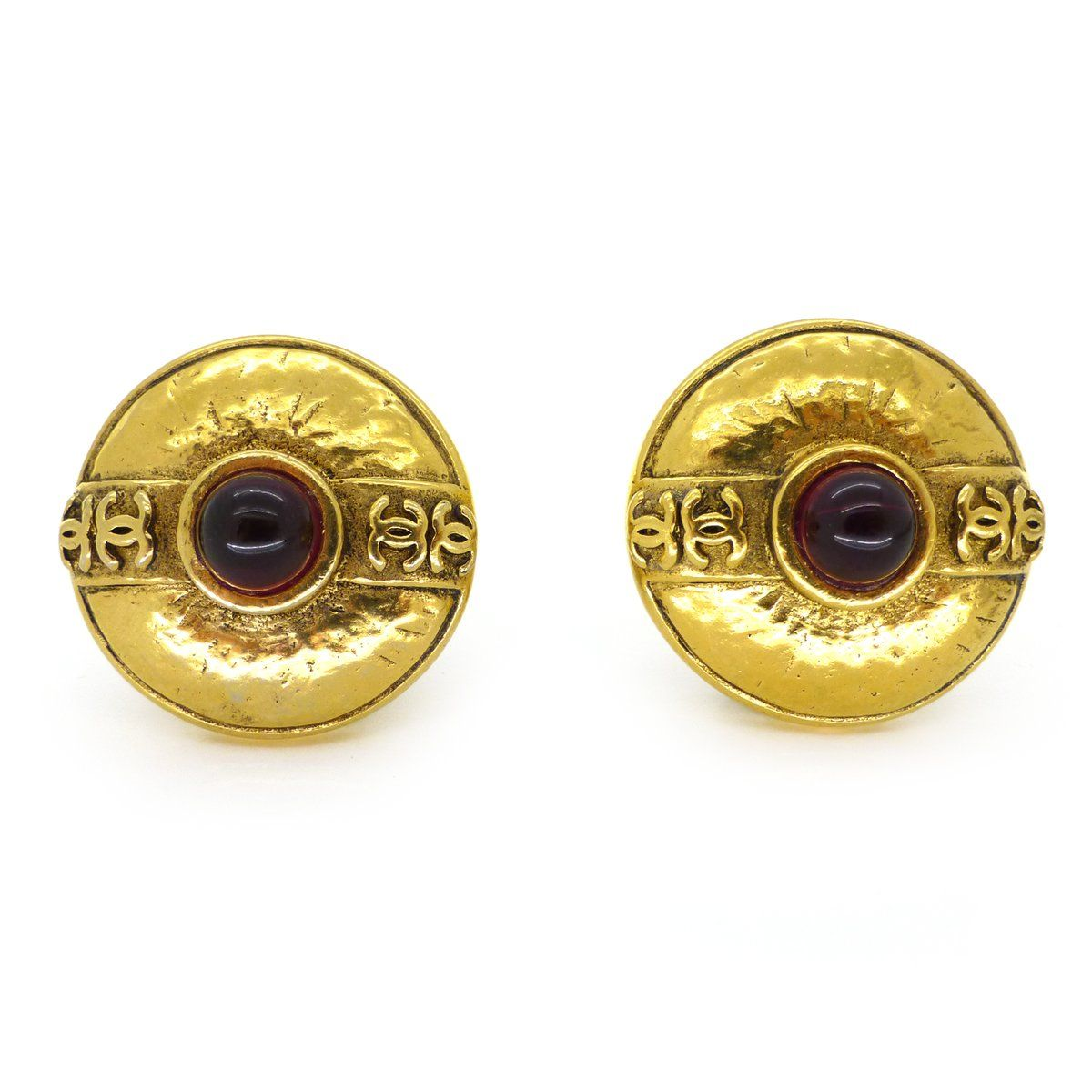 Contemporary Chanel Gold Tone Cc Red Gl Cabochon Clip Earrings Clarice Jewellery