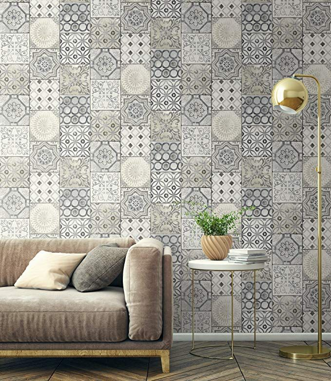 Moroccan Tile Wallpaper in Blue (Gray & Cream) Amazon