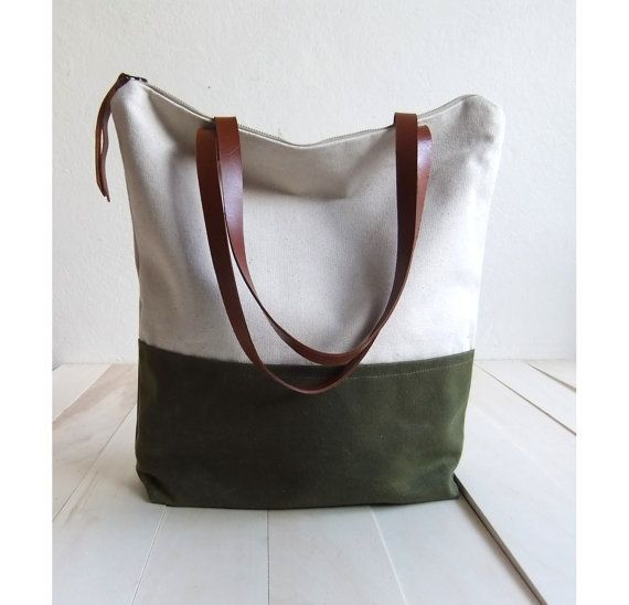 Large zippered Waxed Canvas Tote natural canvas Brown Leather ...