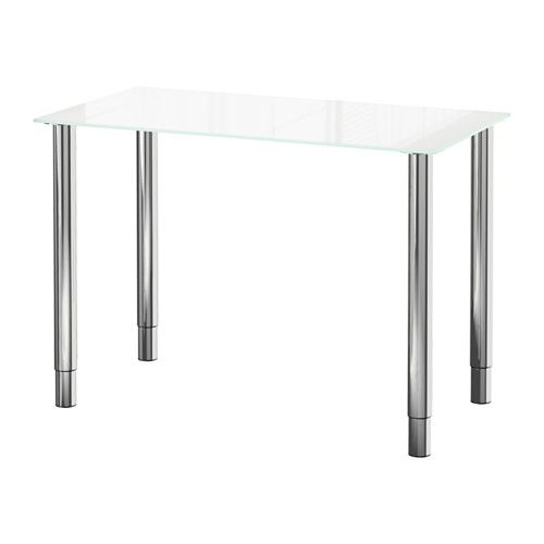 IKEA   GLASHOLM/GERTON, Table, Glass White/chrome Plated, , The Table Top  In Tempered Glass Is Stain Resistant And Easy To Clean.Adjustable Feet Make  The ...