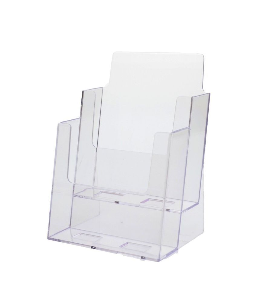 Clear Tri-Fold Brochure Holder with business card Qty 2