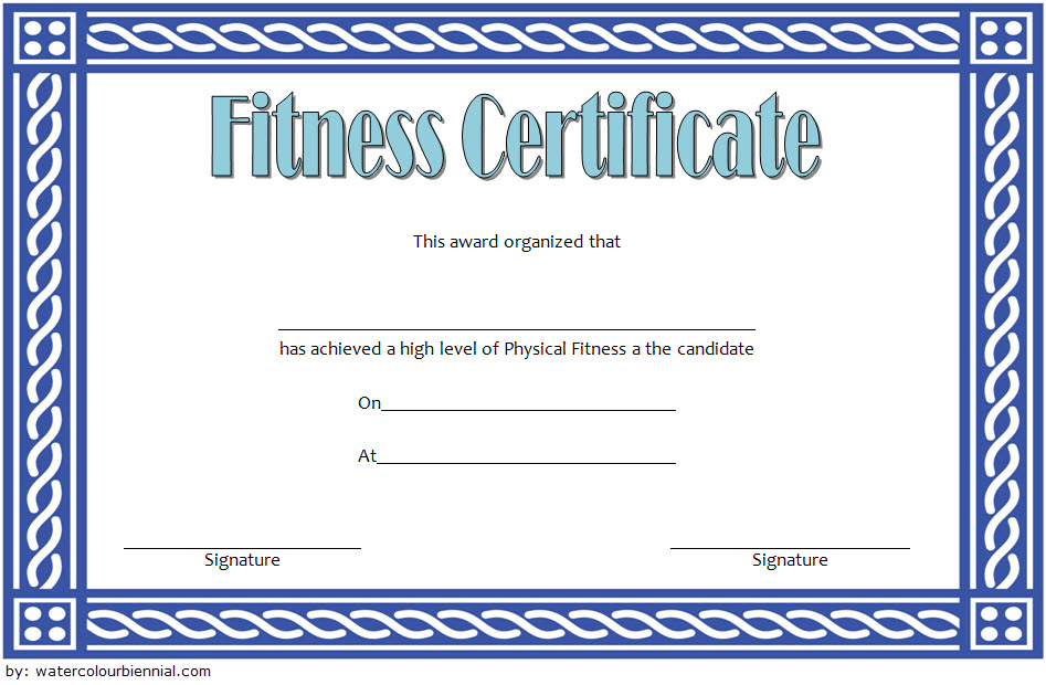Physical Fitness Certificate Template Free 1