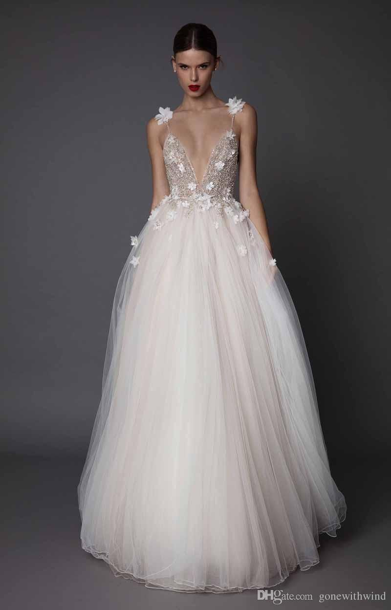3d Floral Appliques Beaded Wedding Dresses 2017 Muse Berta Bridal Spagetti Deep V Neck Embellished Bodice Tulle Skirt Open Low Back