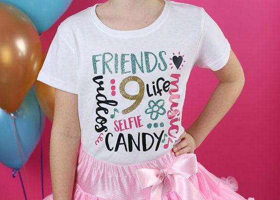 Girls Nine Birthday Shirt 9th Girl