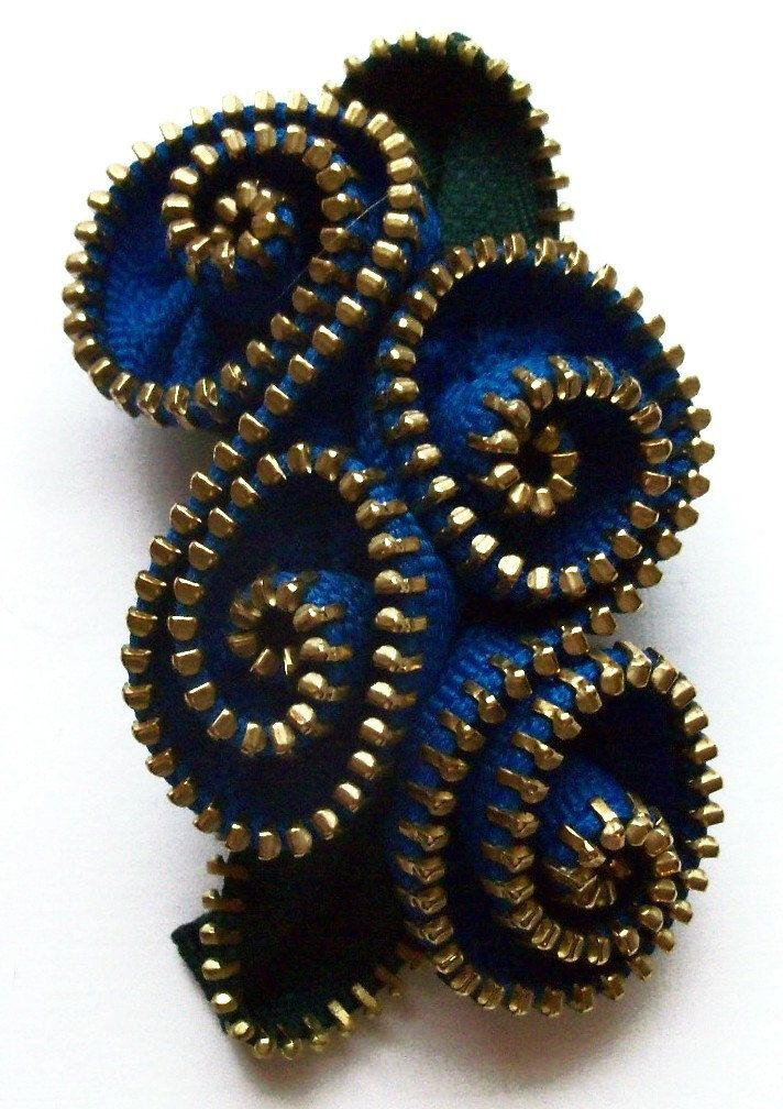 Peacock Blue Abstract Floral Brooch / Zipper Pin Brass Teeth by ZipPinning 2981 by ZipPinning on Etsy