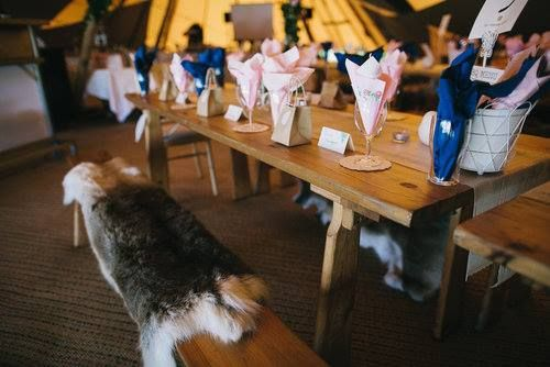 How about spreading some of our cosy reindeer hides over our solid warm benches? They're sustainably sourced and look fab!  #tipiwedding #tipis #reindeerhides #weddingtable