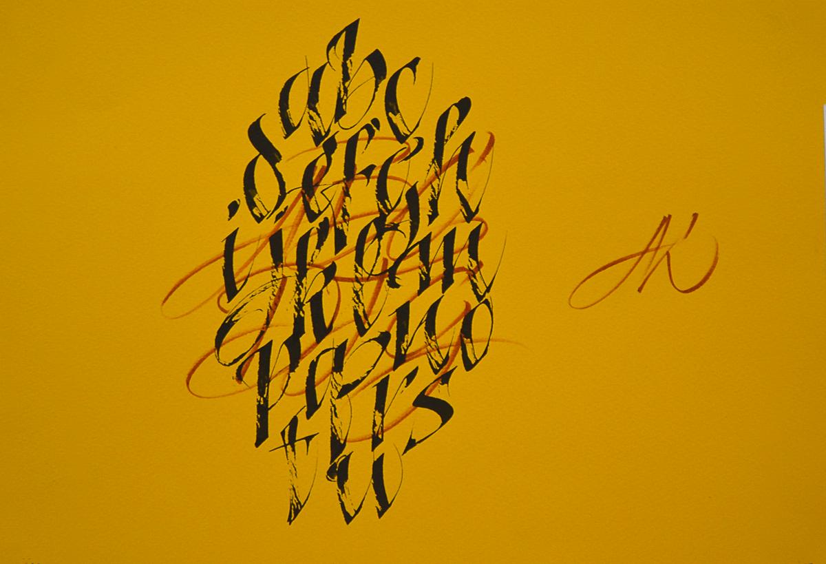 calligraphi.ca -My work on the Manuscriptum 2012- Pilot parallel pen, brush-pen, paper - kinessisk