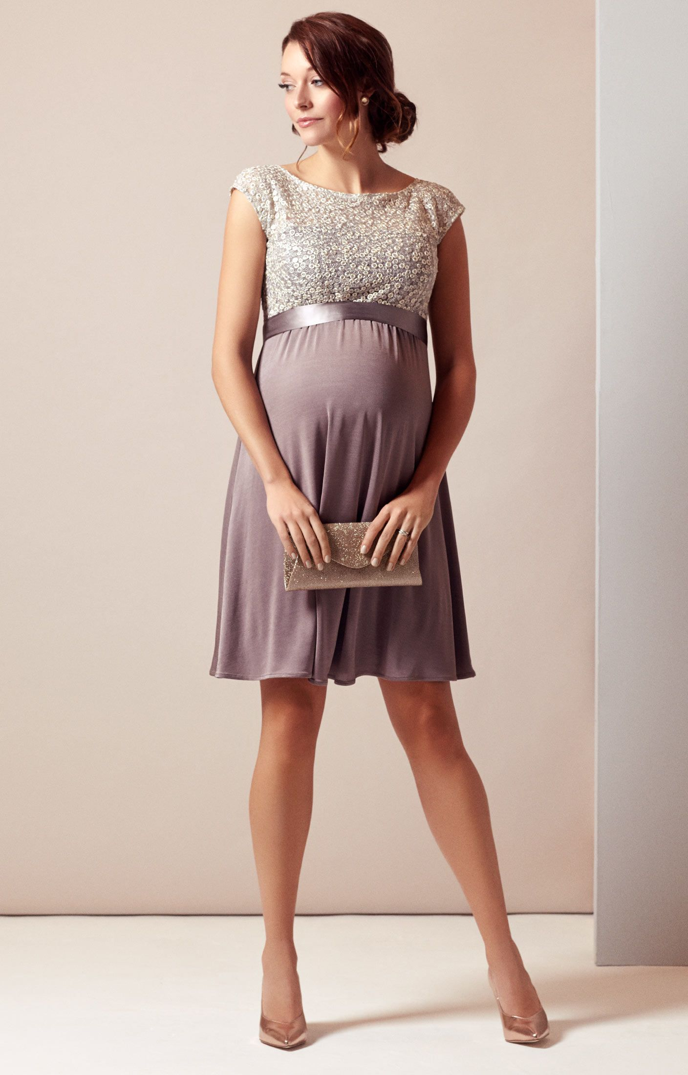 d4c3183f45679 Rich, taupe tones give our knee-length Mia maternity dress a deliciously  stylish appeal to work through the season's invites with ease.