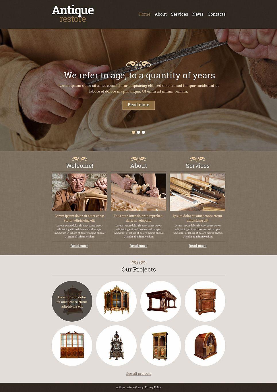 Antique Store Responsive Website Template 48393 Vintage Website Design Website Design Wordpress Vintage Web Design