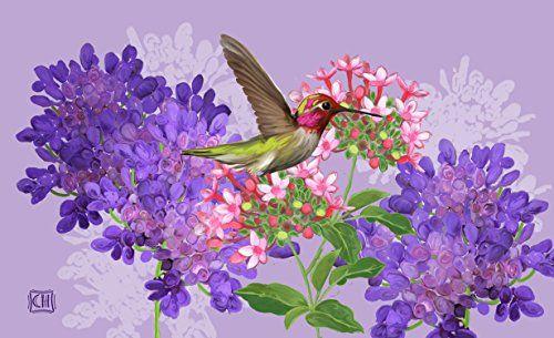 """Toland Home Garden Hummingbird and Flowers Indoor/Outdoor Standard Mat, 18"""" x 30"""""""