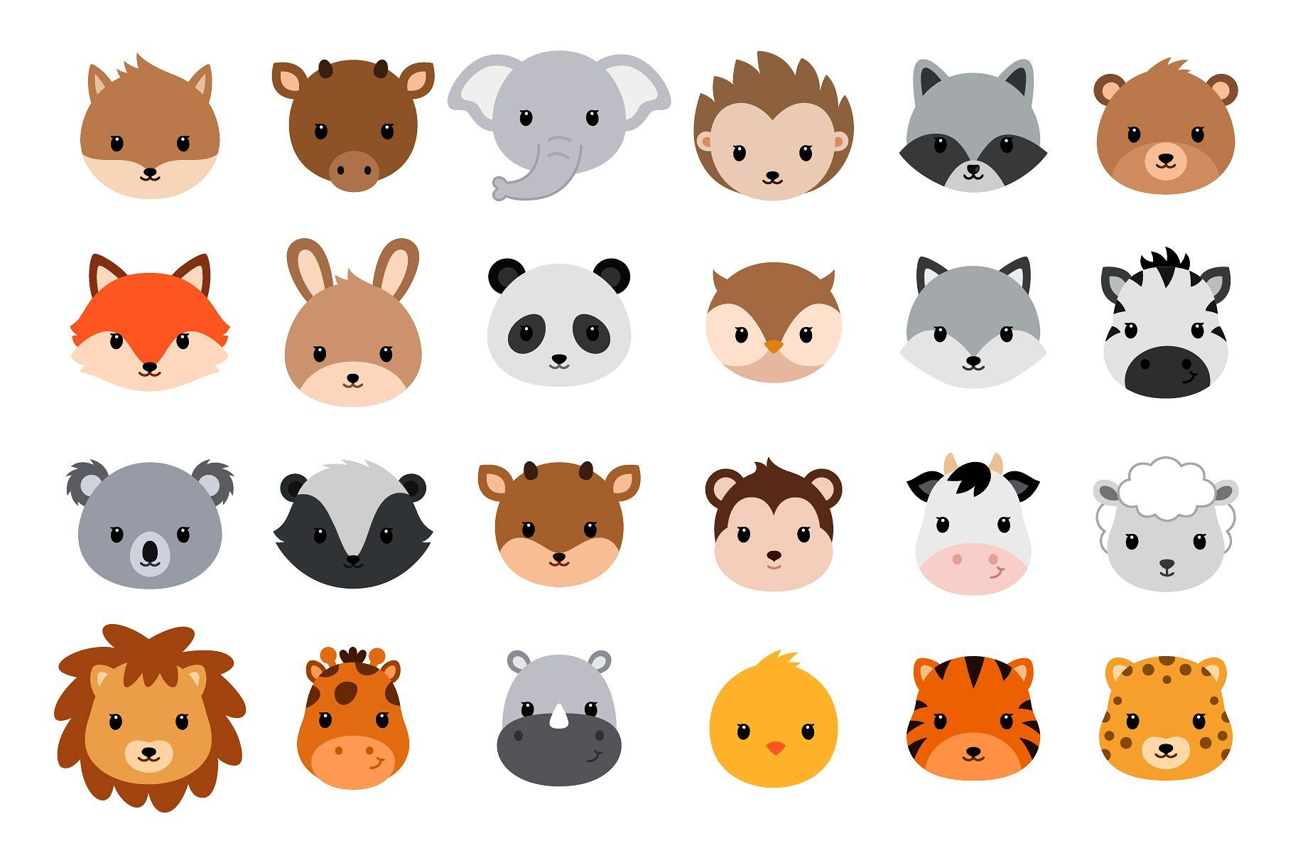 Cute cartoon animals. Vector heads. Cute cartoon animals