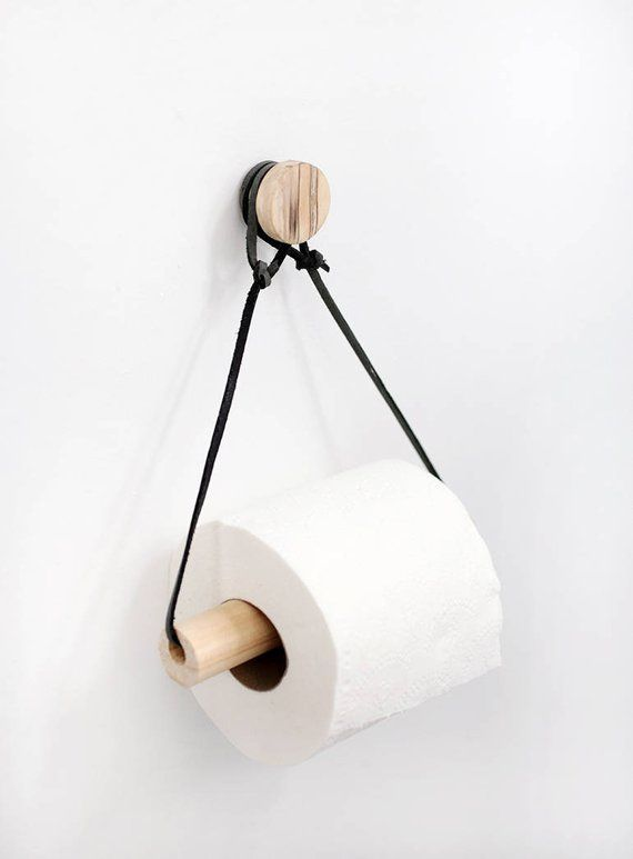 Modern toilet paper holder, wood, leather, bathroom accessories …