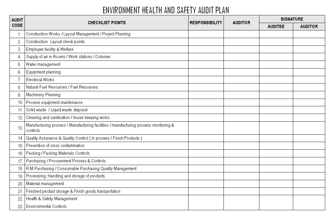 The astonishing Environment Health And Safety Audit Plan