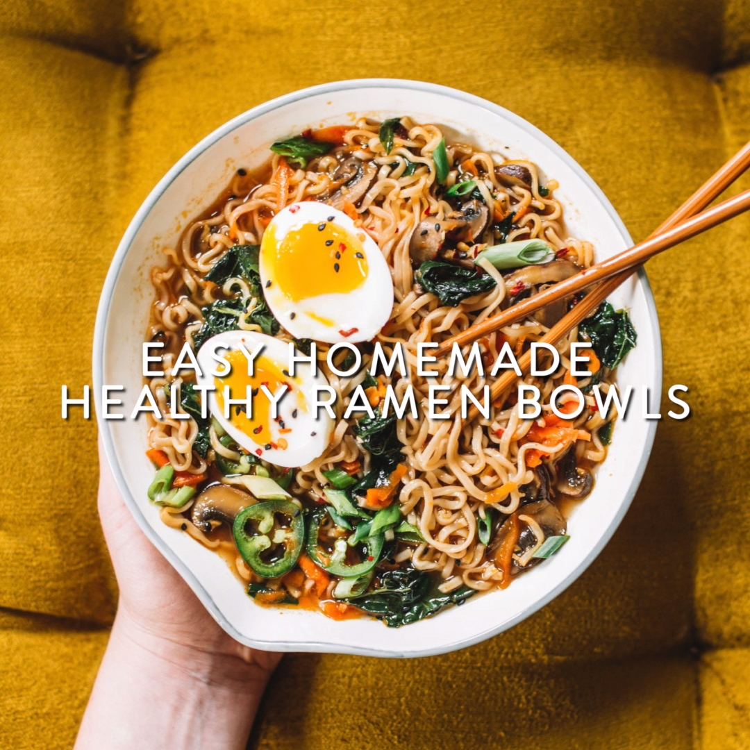 Easy homemade healthy ramen bowls! Basically chicken noodle soup's Asian cousin, sans the chicken. These healthy ramen bowls are so flavorful and the perfect comfort food when you're sick.