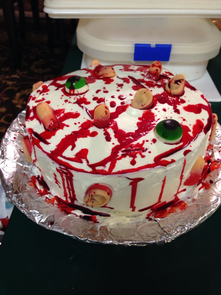 Gross body part blood splatter halloween birthday cake for my