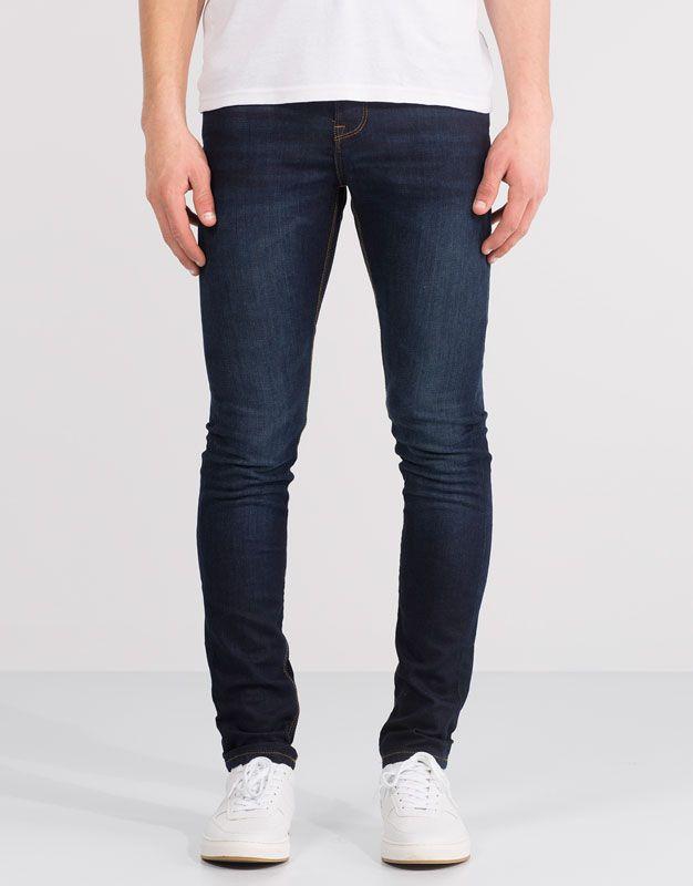 Dark Wash Super Skinny Jeans Jeans Man Pull Bear Turkey Moda Masculina Moda Masculino