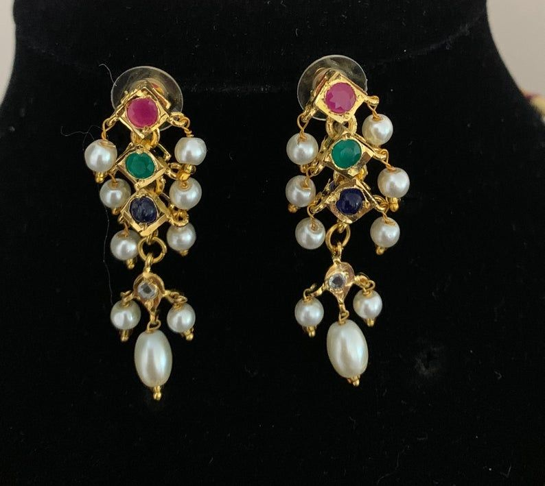 Hyderabadi navratan Jadau set Indian jewelry Wedding Pearl