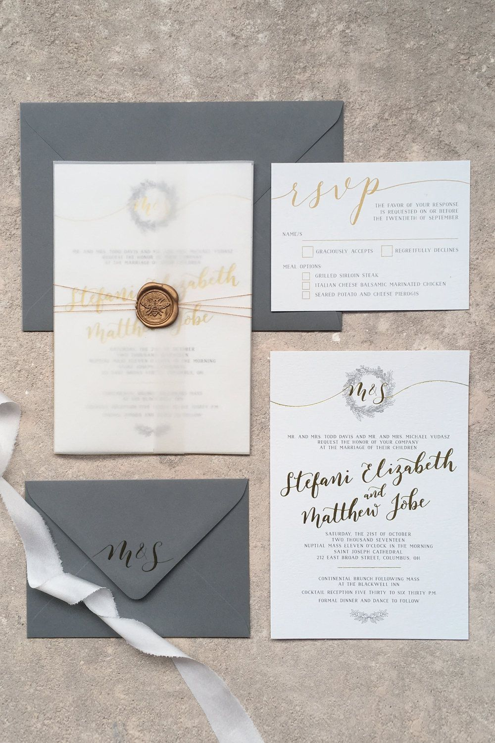 Vellum Wrap For Wedding Invitation By Emerald Paper Design In 2020 Wedding Stationery Wedding Invitations Diy Wedding Stationery