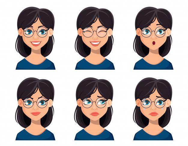 Expresiones faciales de mujer hermosa en  Premium Vector