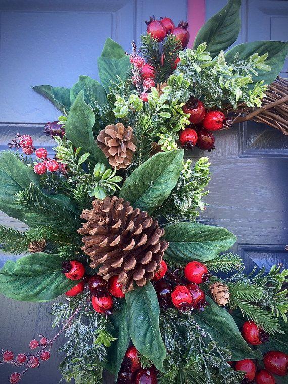 Pinecone Wreaths, Winter Door Wreaths, Green Red, Winter Decor - christmas wreath decorations
