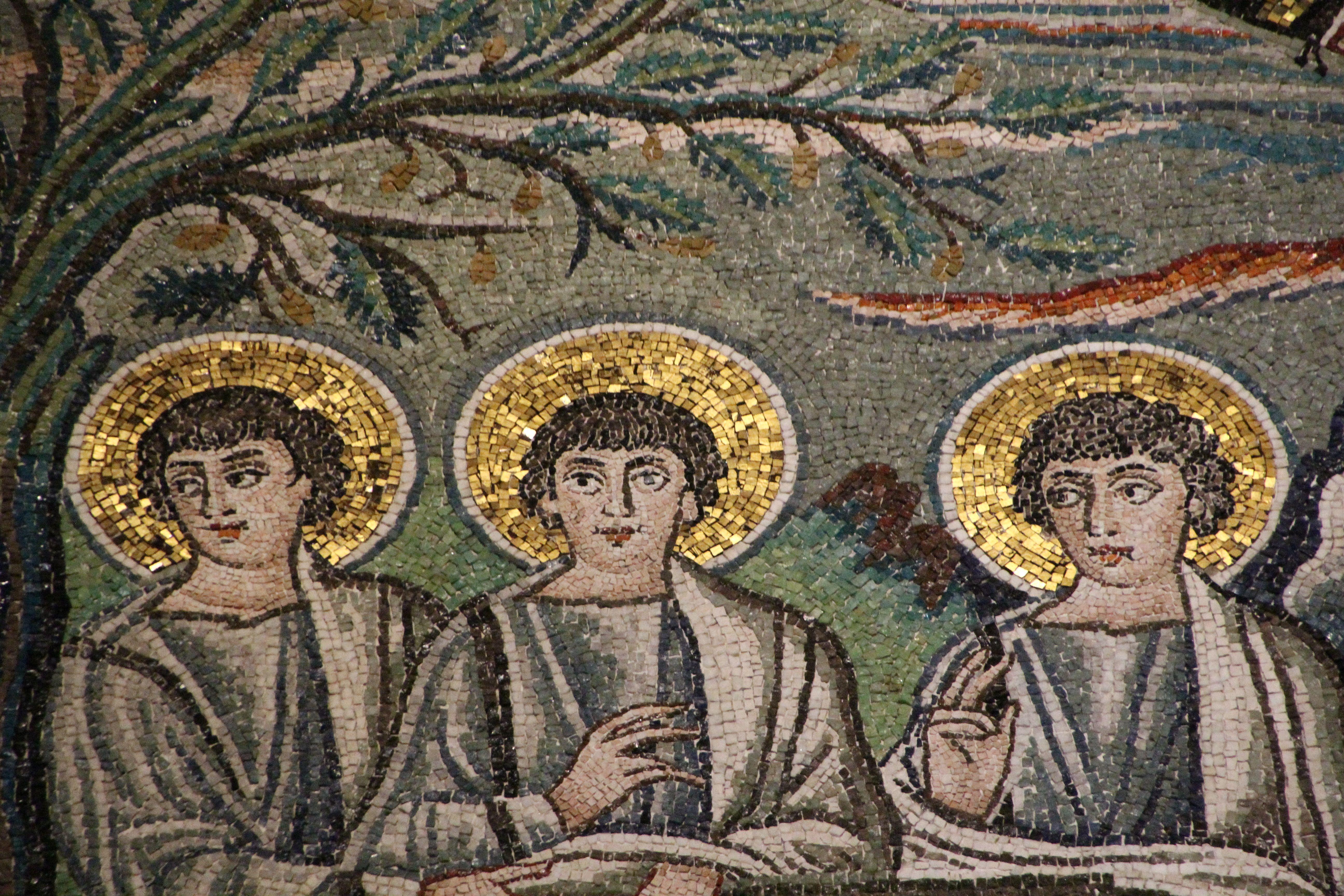 Basilica di San Vitale, Ravenna. I Mosaici bizantini, 546-547. Il periodo di Giustiniano. Abramo e tre angeli venuti ad annunciare la nascita di un figlio