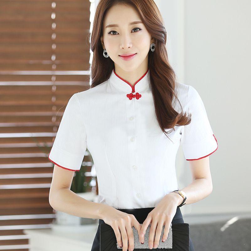 ce8de65612 Plus Size Chinese Women cotton Blouses Shirt female Short Sleeve Mandarin  Collar White Blouse Tops lady plus size Summer Clothes