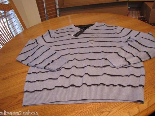 Mens Tommy Hilfiger long sleeve sweater shirt v neck XXL 2XL blue cloud heather