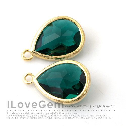 [JUPITER]  P2760 Gold plated Emerald Green Glass drop 12X17mm by ilovegem