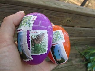 mail easter eggs with knit bunnies