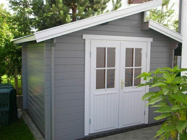 gartenhaus in grau und wei gartenh user pinterest gartenhaus garten und haus. Black Bedroom Furniture Sets. Home Design Ideas