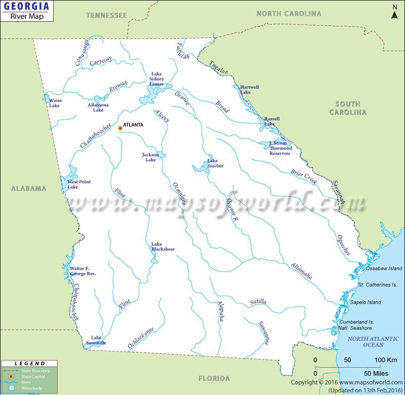Georgia Rivers Map Displays The Major Rivers In Georgia State Of - Map of georgia usa