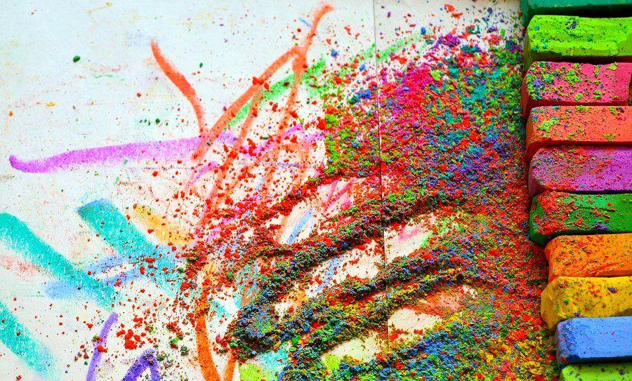 Colourful chalk