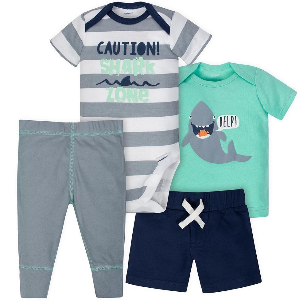 4-Piece Baby Boys Shark Onesies® Bodysuit, Shirt, Pants and Short Set    Bodysuit shirt, Short sleeve onesies, Boy outfits