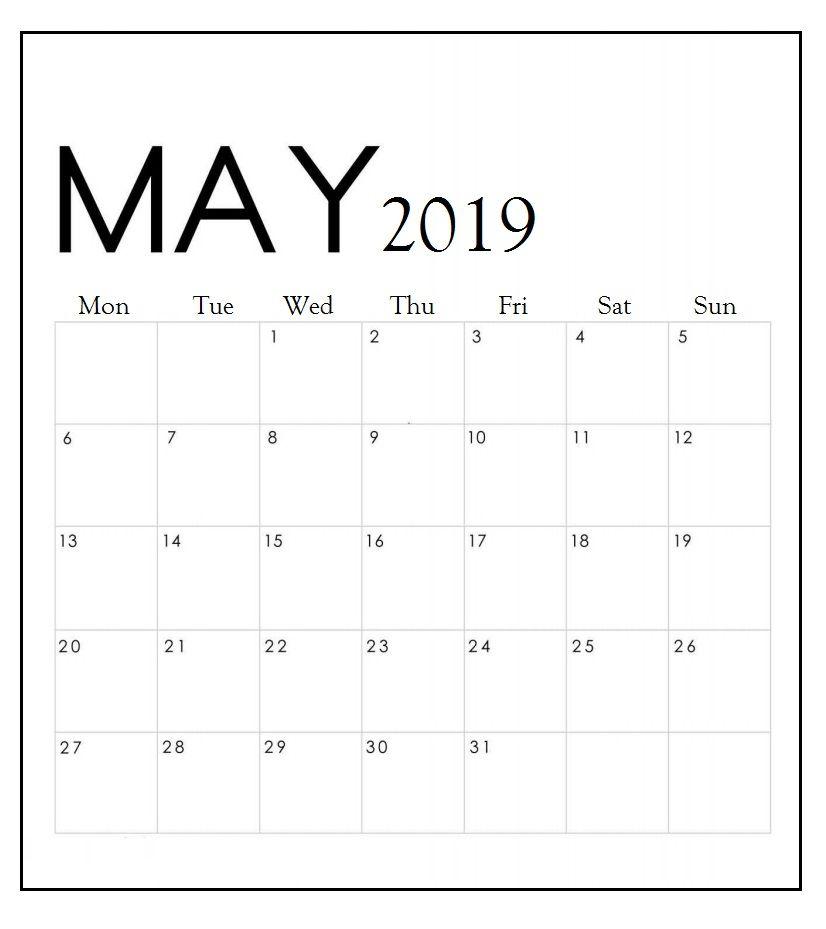 Download May 2019 Wall Calendar Kalendar Dlya Pechati