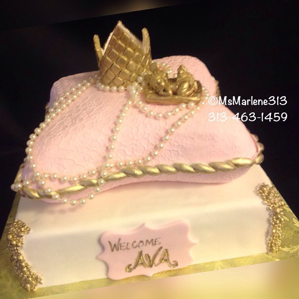 d8eea4e8 2 Tiered Baby Girl Royalty Themed Cake with Gold Crown Sleeping Baby and  Pearls on Pillow by #msmarlene313 #3134631459 #2tiercake #girlroyalty  #royaltycakes ...
