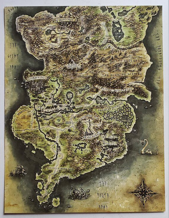 World of Warcraft Azeroth Map of Stormwind / Ironforge section 8.5 x ...