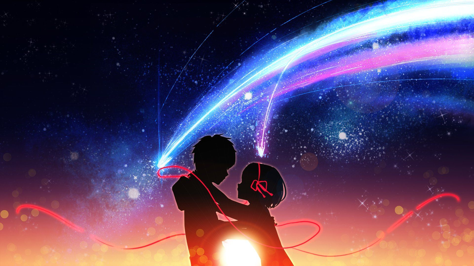 Anime Your Name. Taki Tachibana Mitsuha Miyamizu Fondo de
