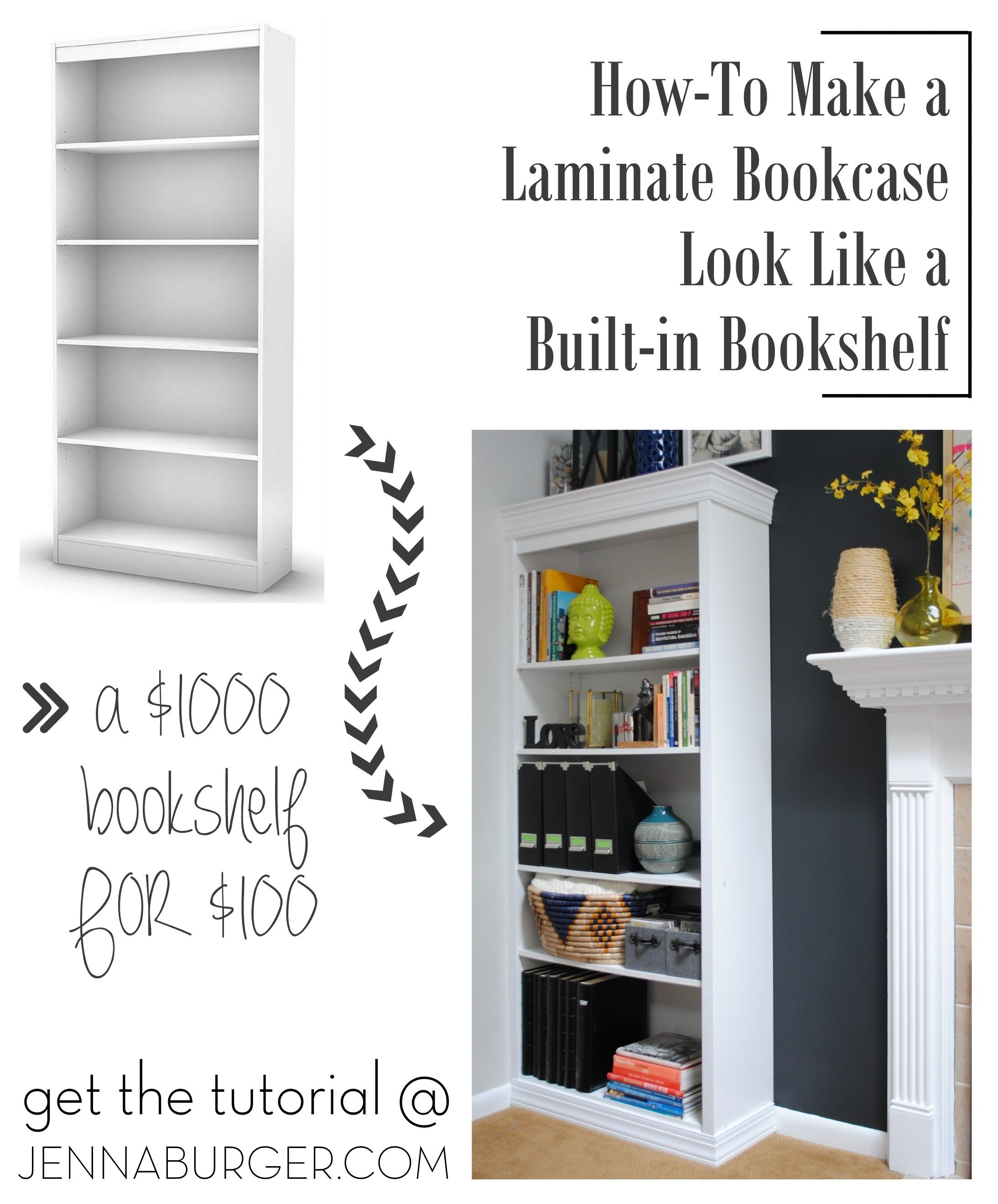 #DIY #Tutorial How-To Make A Laminate Bookcase Look Like A