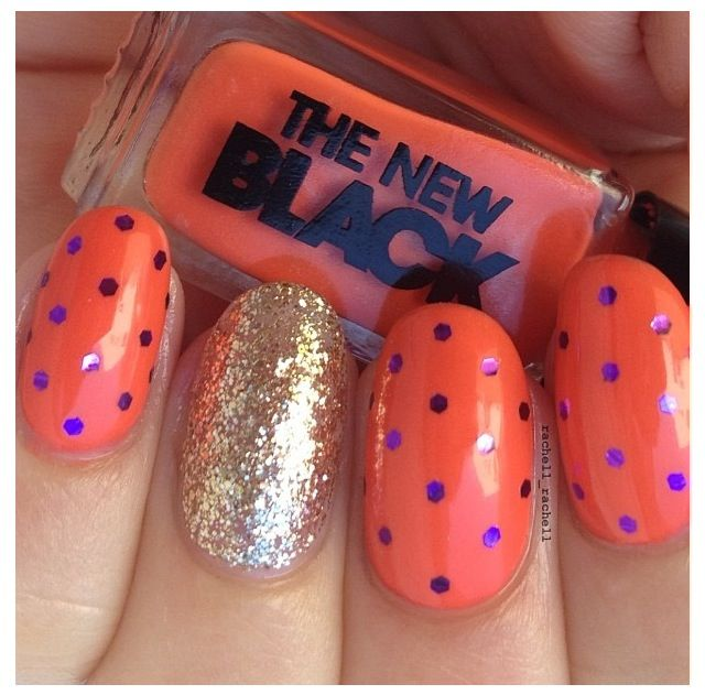 Halloween colored /polka dot glitter placement nails by me ...