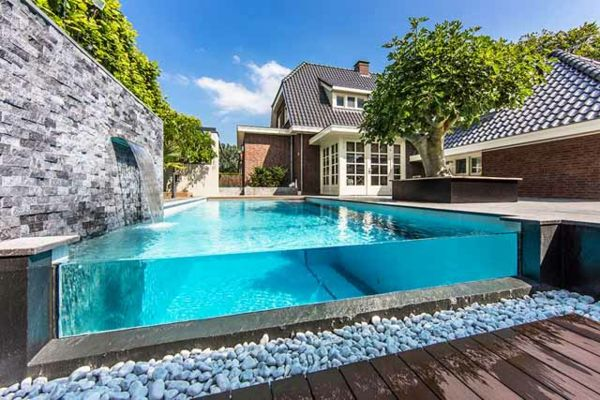 101 Bilder Von Pool Im Garten   Gartengestaltung Pool Flusssteine Beton Wand