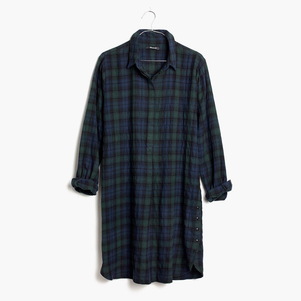 Navy blue flannel shirt womens  Madewell Womens Flannel SideButton Shirtdress In Dark Plaid