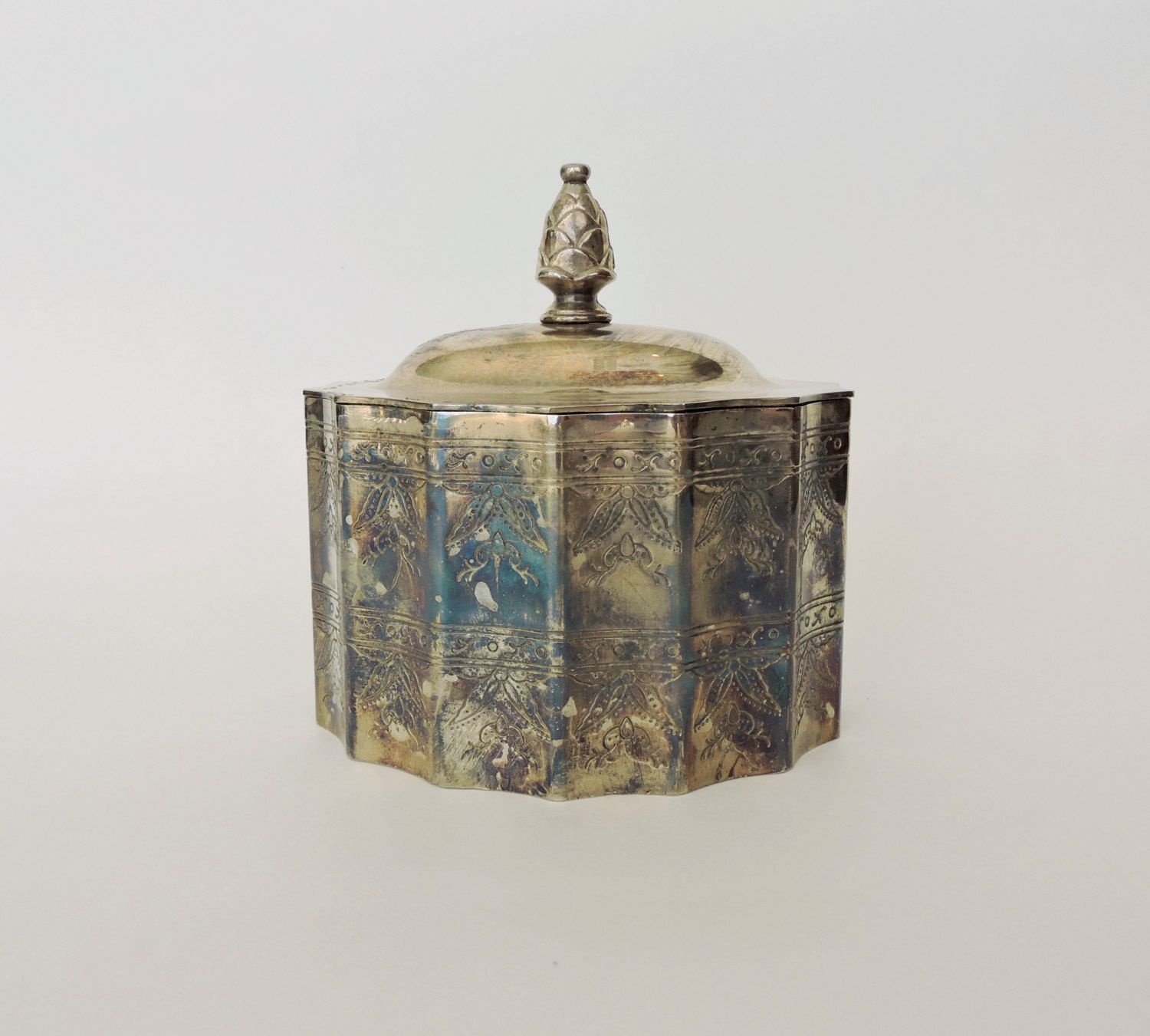 Vintage Silver Jewelry Box Lidded Godinger Silver Plated Trinket