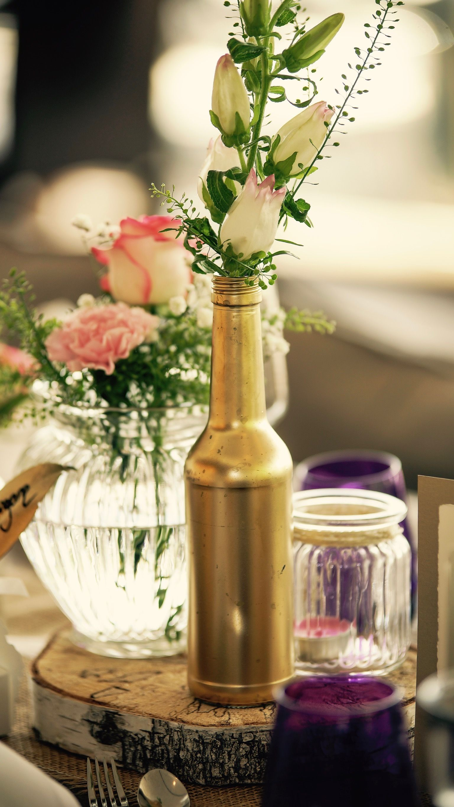 Hochzeitsdeko Vintage Rose Gold Birke Holz Dekoration