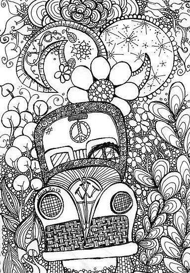 Trippy Bug Zentangle coloring page for adults kleuren voor ...