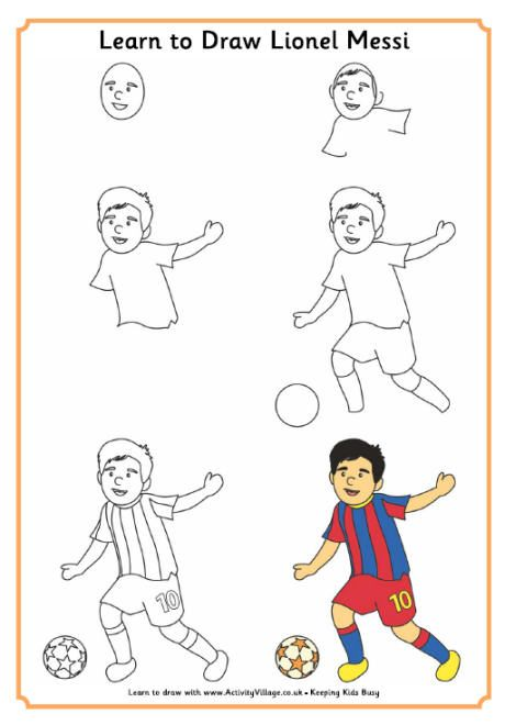 Learn To Draw Lionel Messi Football Drawing Soccer Drawing Football Player Drawing