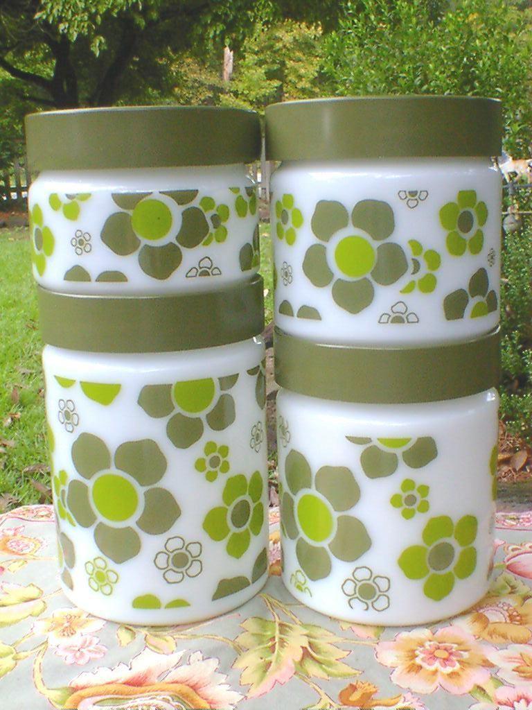 LOVE! Fire King Anchor Hocking Milk Glass & Green Hippie Flower Kitchen Canister Jars