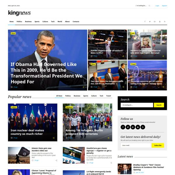 News Portal Responsive Website Template For Online Newspapers And Magazines Business Website Templates News Web Design Website Template