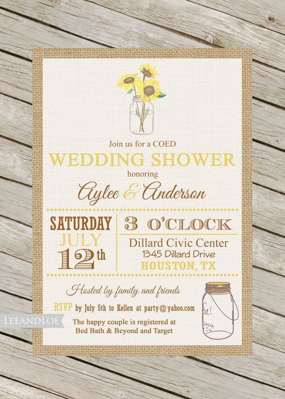 Couples or Coed Wedding Shower InvitationRustic by