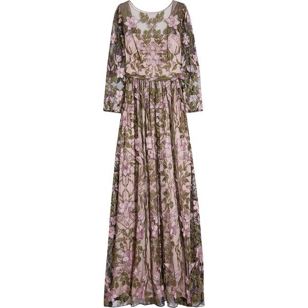 00ce1ca741ee Marchesa Notte Metallic embroidered tulle gown (9.112.390 IDR) ❤ liked on  Polyvore. Metallic Evening DressesMetallic ...