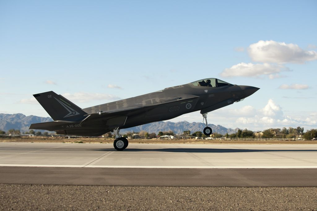 """On Dec. 18, the first Australian F-35A Lightning jet arrived at Luke Air Force Base where it will be used for pilot training beginning in 2015.  The aircraft, known as AU-2, was flown on its 90-minute transit from Lockheed Martin's plant in Fort Worth, Texas, to Luke by U.S. Air Force Lt. Col. Todd """"Torch"""" LaFortune. It was then assigned to the 56th Fighter Wing, that already operated a fleet of 17 F-35s."""